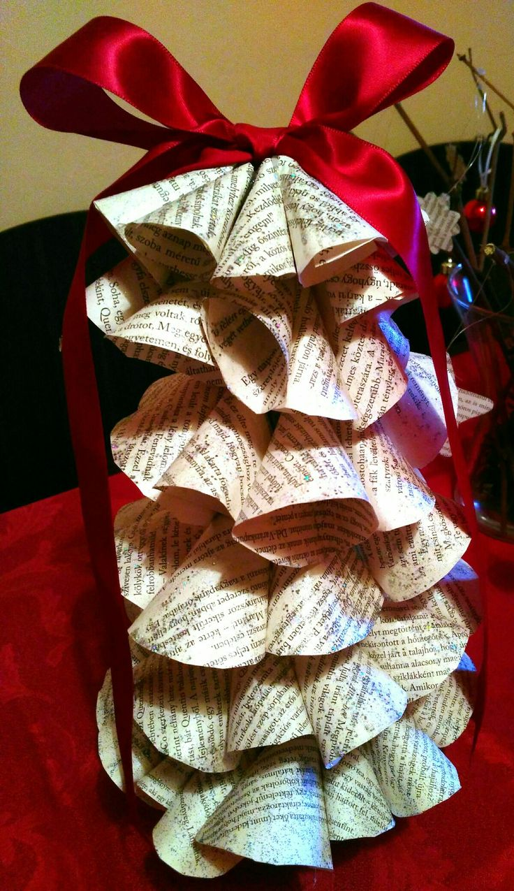 Christmas tree from book pages. Bookwormish christmas tree.