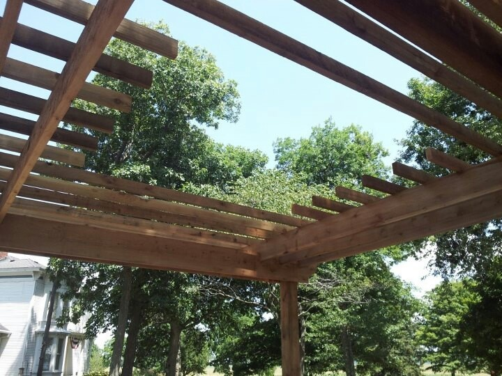 Open Pergola Over Pit Area Fire Pit Backyard Backyard