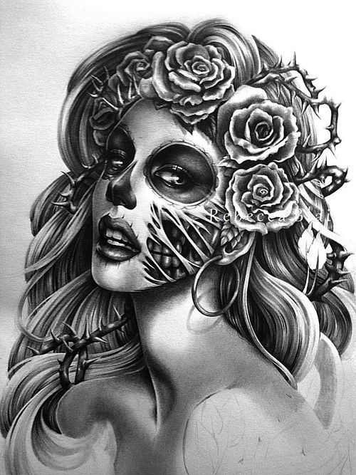 Silver Day of the Dead sugar skull in a bed of red roses withers away to show the true death skull underneath. Description from pinterest.com. I searched for this on bing.com/images