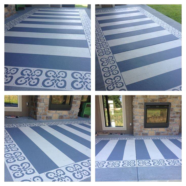 painted patio with patio concrete paint blue tape and a