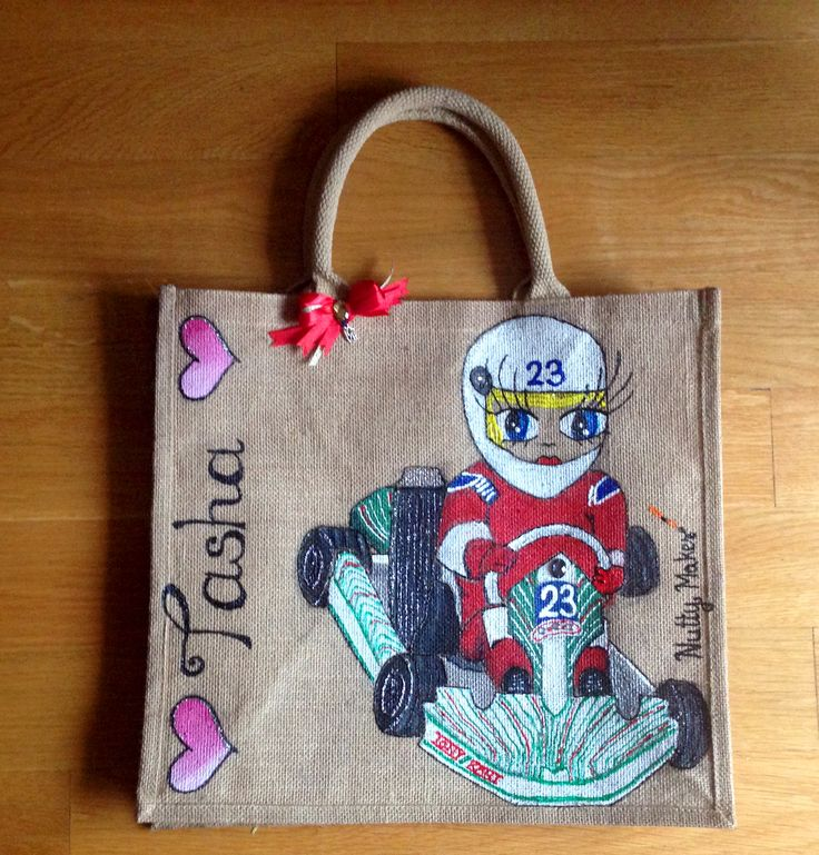 Tasha. Racing and go karting can also be placed on a personalised jute tote bag. :) Check out http://www.facebook.com/nuttymakes for more information