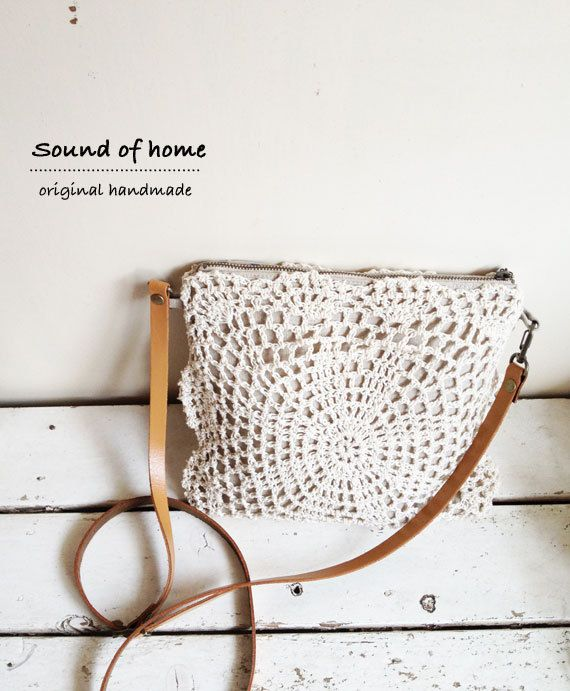 Linen crochet doily 2 way messenger bag leather mori girl shabby chic handmade zakka