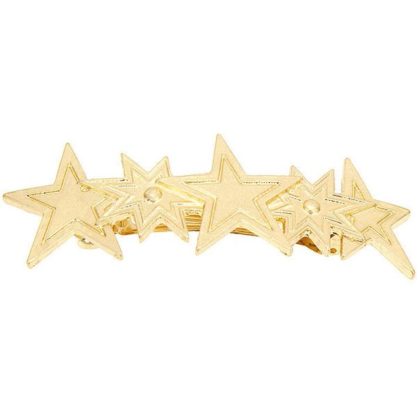 Yoins Sparkle Star Hair Clip in Gold ($6.21) ❤ liked on Polyvore featuring accessories, hair accessories, barrette hair clips, gold hair accessories, sparkly hair accessories, star hair clip and gold hair clips
