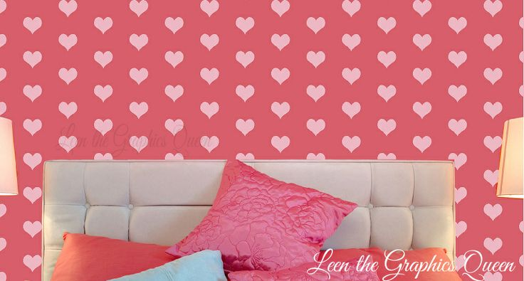 Heart shaped wall decals set of 200 heart shapes wall for Heart shaped decorations home