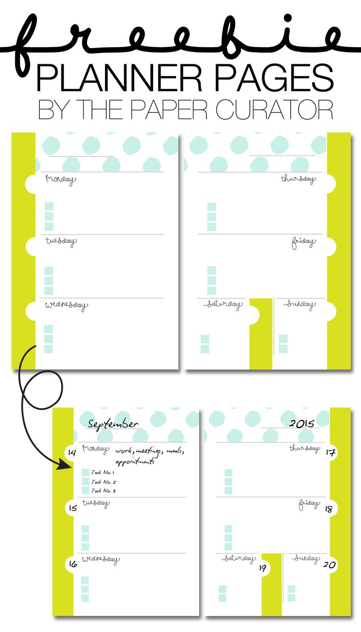 Free Planner Page Printables from The Paper Curator