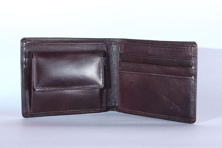 New Handmade Genuine Cowhide Leather Wallets Coin Men's Dark Brown Bifold Purse #Handmade #Bifold