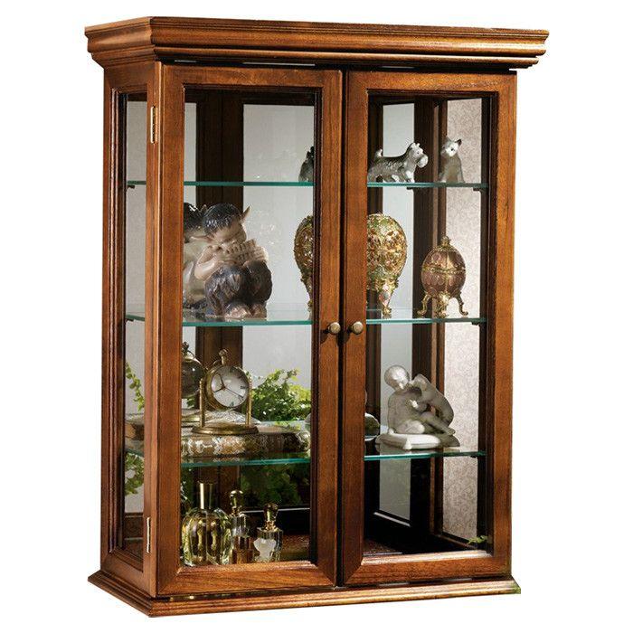 Country Tuscan Hardwood Wall Curio Cabinet