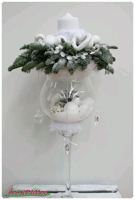 más y más manualidades: Hermosos centros de mesa navideños usando copas de...