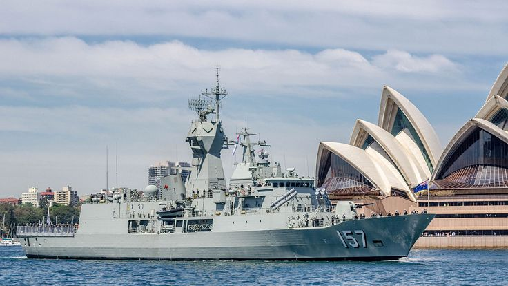 Royal Australian Navy Anzac class frigate HMAS Perth (3) at the International Fleet Review, October 2013.