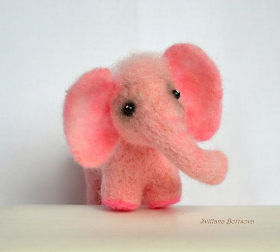 Miniature baby pink  elephant felted from by SvitlanaBorisova