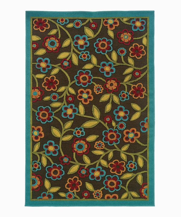 Turquoise And Brown Rug: Brown & Turquoise Floral Ivy Indoor/Outdoor Rug