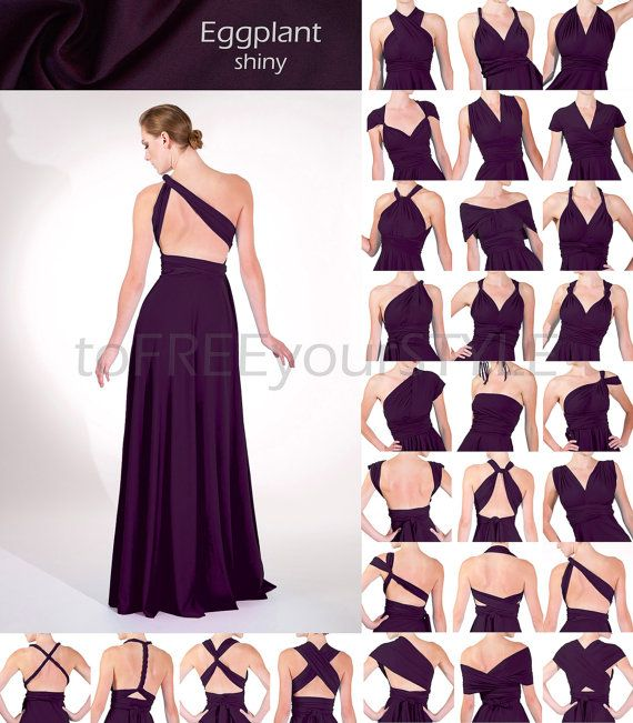 Long infinity dress in EGGPLANT purple shiny, FULL Free-Style Dress, long convertible dress, infinity bridesmaid dress, maxi dress, evening