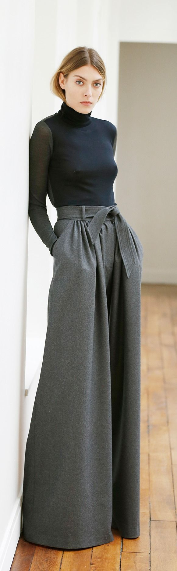 Grey wide leg trousers by Martin Grant, Pre-Fall 2015