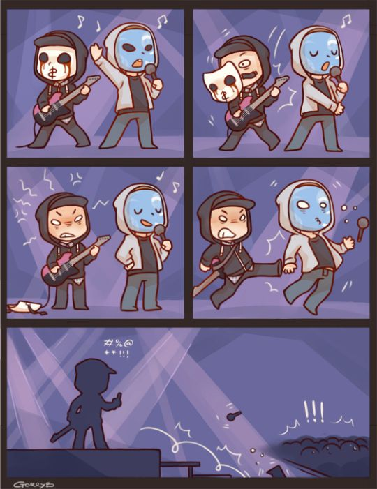 hollywood undead ����chibis johnny and jdog are on stage