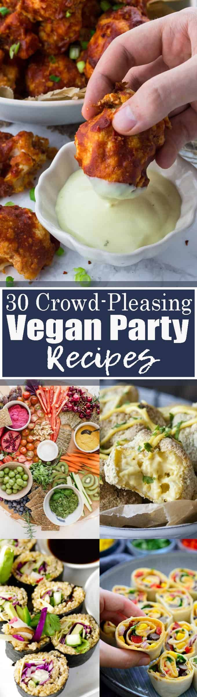 Got a party or potluck coming up? This list of 30 vegan party recipes includes all the recipes you need: vegan dips, salads, vegan finger food, and even desserts! Find more vegan recipes at veganheaven.org <3