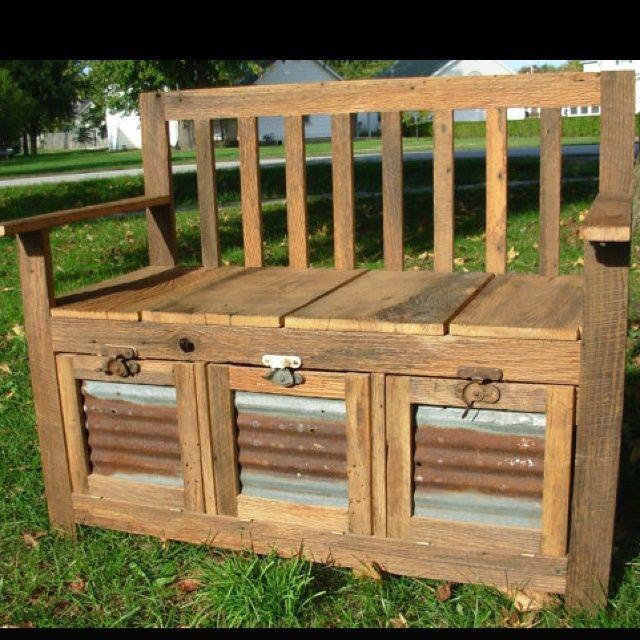 Barn Tin Wood Barn Wood Bench With Corrugated Tin Insert