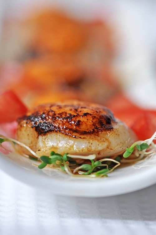 Scallops topped with Japanese Spicy Mayonnaise and Blowtorched
