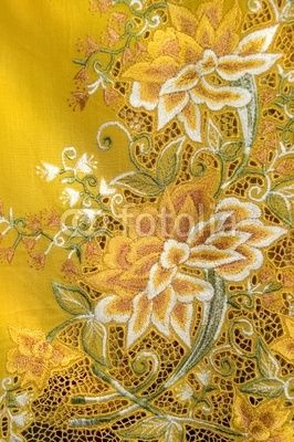 Yellow Kebaya Cloth With intricate Flowers