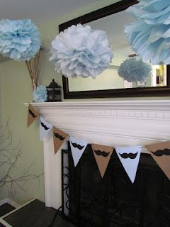 Mustache Baby Shower Decorations Fantastic Job @Jenny Hansen...girls make those tissue paper flowers all the time at work :)