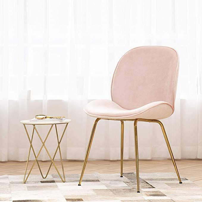 Art Leon Velvet Pink Shell Chair Soft Upholstered Modern Accent