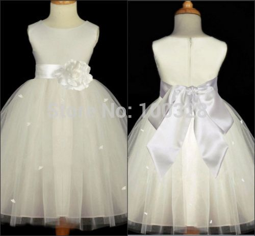 Find More Vestidos de Damita de Honor Information about 2014 nueva costumbre hizo vestido de fiesta cucharada piso longitud del tanque sin mangas de vuelta con arco niña vestido de envío gratis para la boda,High Quality Vestidos de Damita de Honor from Rose Wedding Dress Co., Ltd on Aliexpress.com