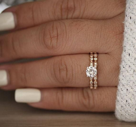Bridal Ring Set, Moissanite Rose Gold Engagement Ring, Round 6mm Moissanite Ring, Diamond Milgrain Band, Solitaire Ring, Promise Ring