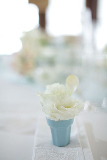 Lisianthus in Baby Blue China with mother of pearl - tiny spoon by Tirtha Bridal Uluwatu Bali
