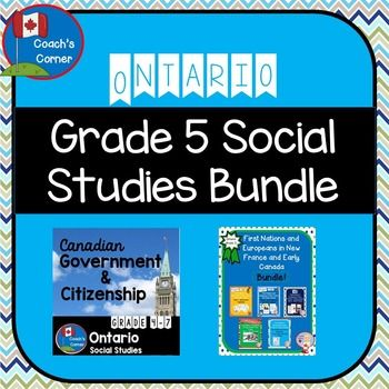 Ontario Grade 5 Social Studies MEGA-BUNDLE:  Canadian Government & Citizenship AND First Nations & Europeans in New France and Early Canada