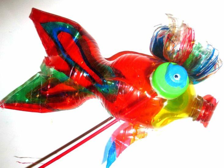 exotische vis van plastic fles petfles