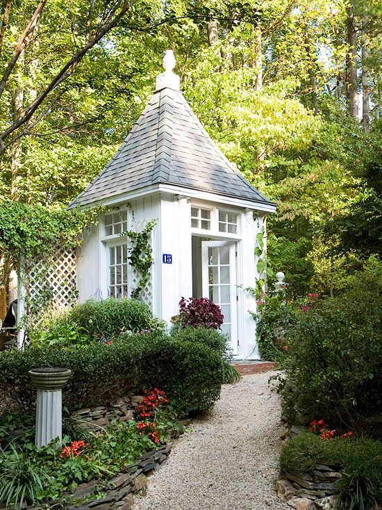 92 best beautiful outdoor spaces images on pinterest for Pretty garden sheds