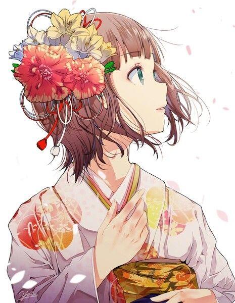 anime girl wow the flowers match the kimono