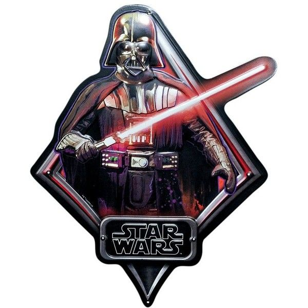 Star Wars Darth Vader Tin Sign () ($16) ❤ liked on Polyvore featuring home, home decor, wall art, tin signs, graphic signs, embossed sign, star wars wall art et tin wall art
