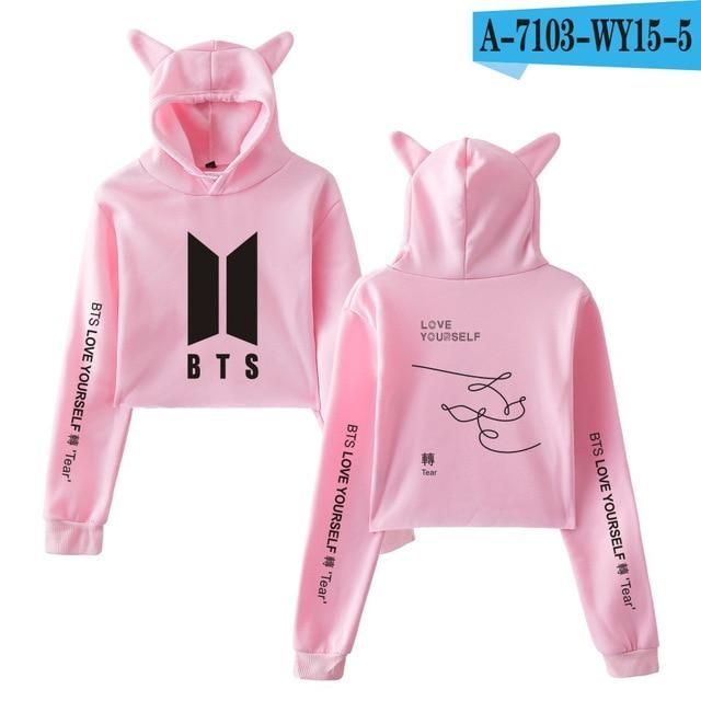 a06479485e5 BTS Kawaii Print 2018 Album Love Yourself Tear Sexy Cat Crop Top Women  Clothes Hoodies Tops