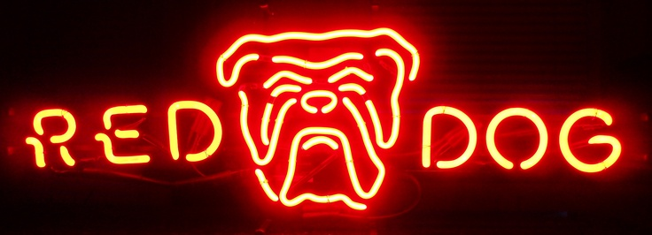 RED DOG, Plank Road Brewery Neon Bar Sign, circa 1992