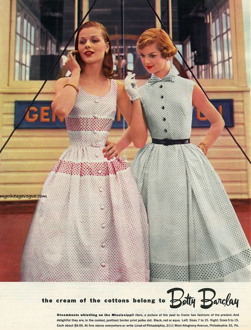 Betty Barclay 1956 50s day party dress pink white green color photo models print ad magazine