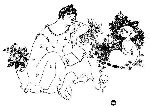 Drawing in Garm, little moomin prototype in front (moomins were originally very…