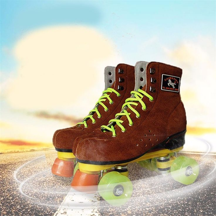61.75$  Watch now - http://alisgk.worldwells.pw/go.php?t=32730802605 - 2016 New Adults' Indoor Outdoor Dual Line Two Lane Quad Wheels Roller Skates with Lace-up Flock Boot 61.75$