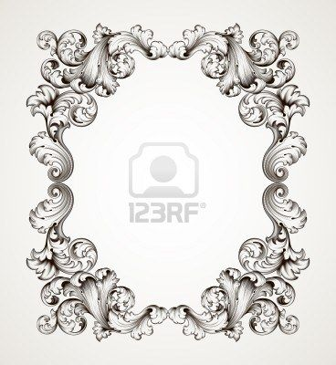 vector vintage border  frame engraving  with retro ornament pattern in antique baroque style decorative design   Stock Photo