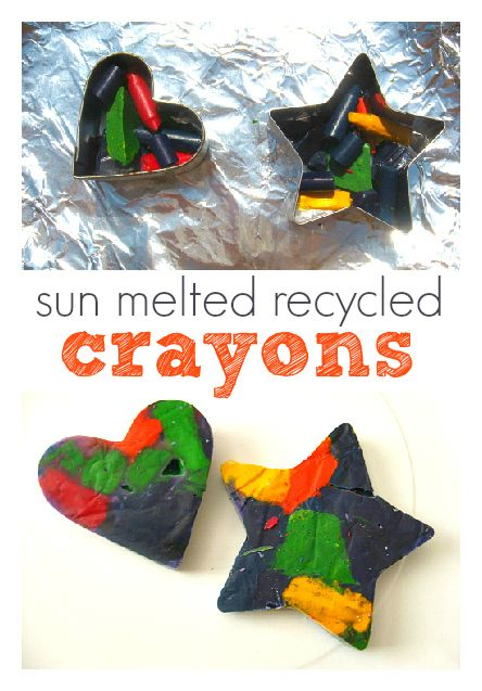 Sun Melted recycled crayons ~ I am going to try using the cookie cutters in the oven instead of a mold. I have tons of cookie cutters. On the next hot day I will try using solar power to do the melting!