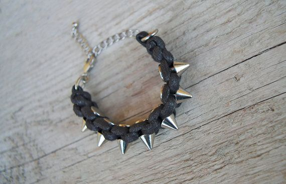 Black spike bracelet - metal spike bracelet, biker bracelet rocker, black silver, steampunk stacking bracelet, spike jewelry * FREE SHIPPING