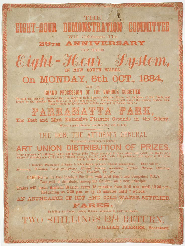 Eight Hour Day poster issued by Eight Hour Demonstration Committee, 1884. Mitchell Library, State Library of New South Wales: http://www.acmssearch.sl.nsw.gov.au/search/itemDetailPaged.cgi?itemID=430870. Digital order number: a762011.