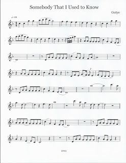 Somebody that I Used To Know. Flute & Tenor Sax Sheet Music :)