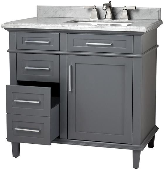 Gray Off Center Single Vanity Potential Purchase Or Honey Do For Hall Bath Main Level