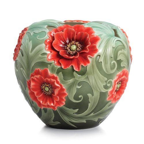 porcelain Art NEW__Poppy Flower Mid Size Porcelain Vase from the Franz Collection