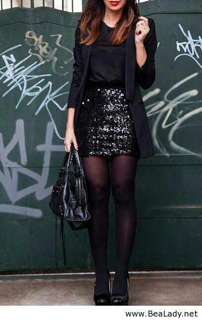 Black glitter skirt and blazer