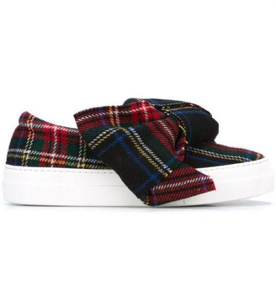 JOSHUA SANDERS – Sneakers slip on tartan con maxi fiocco da donna 1