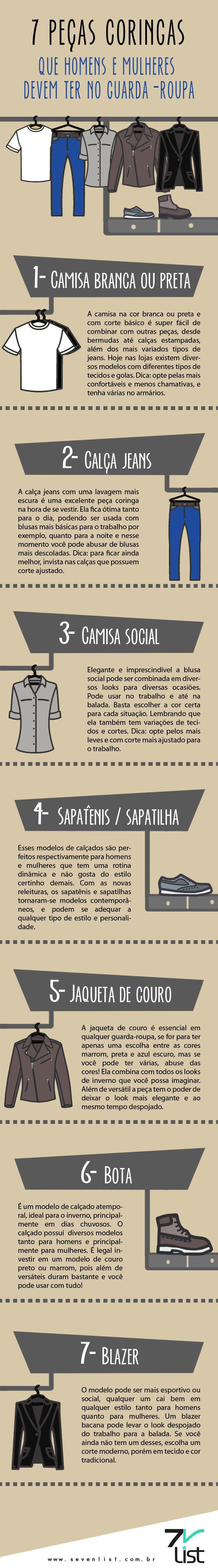 #infográfico #infographic #design #camisa #camisabranca #camisapreta #calçajeans #jeans #camisasocial #sapatênis #sapatilha #jaqueta #coura #jaquetadecouro #bota #blazer #peças #coringas #peçacoringa #moda #look #essencial #roupas www.sevenlist.com.br