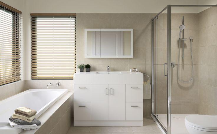 Harmony - Bathroom Inspiration package at Bunnings Warehouse #subtle #stylish #softlyblended #freestandingvanity