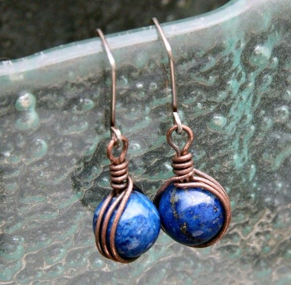 Blueberry Bomb - oxidized copper wire wrapped lapis lazuli and sterling dangle earrings - 13 - 24