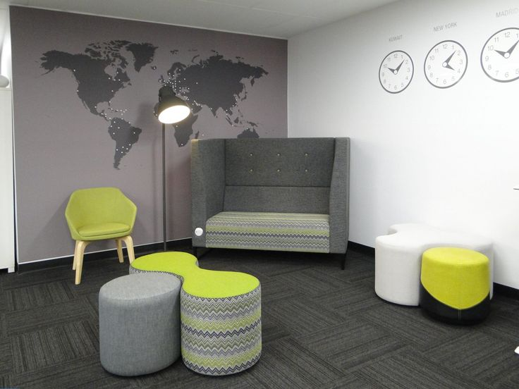 Breakout area furniture including the Breva Sky booth, Worm ottomans & Bonnie chair